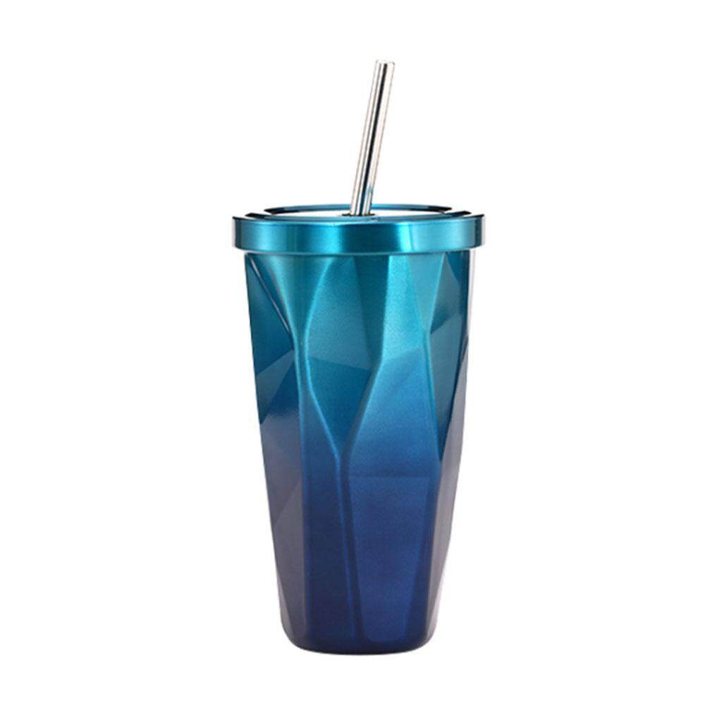 3585e721f58 niceEshop Stainless Steel Tumbler Cup With Straw, Irregular Cups With Lid  For Cold, Hot