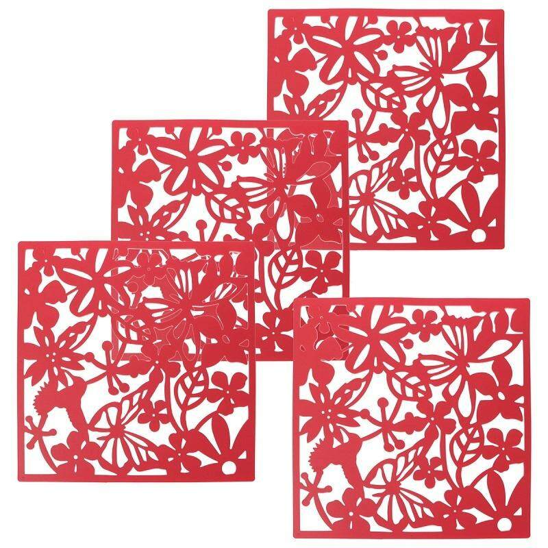Fashion 4 Pcs Butterfly Bird Flower Hanging Screen Partition Divider Panel Room Curtain Home Decor Red - intl
