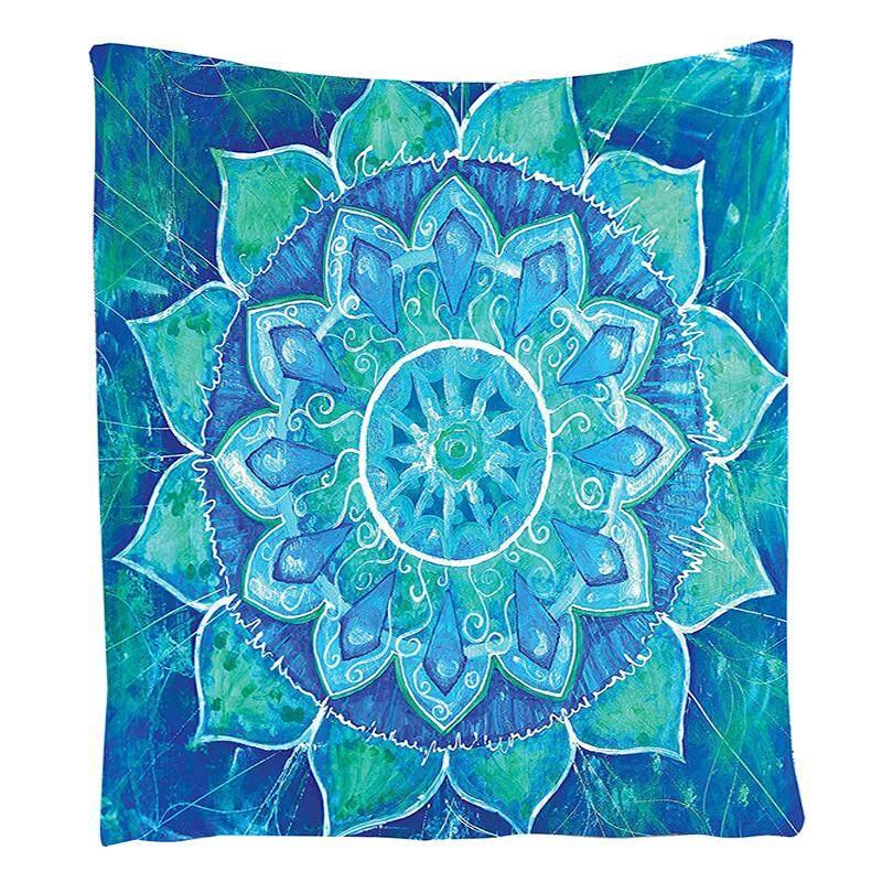 Chakra Permadani Chakra Dekorasi, Lukisan Cat Air Efek Batik Tenun Ikat Mandala Abstrak Tema kamar Tidur Living Laki-laki Perempuan Anak-anak Kamar Asrama Aksesoris Gantungan Dinding Permadani, Blue-Intl