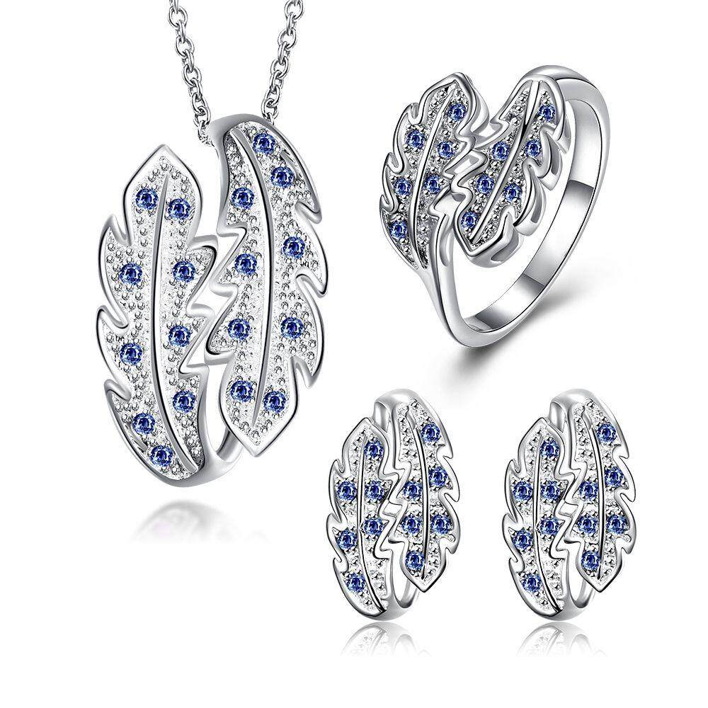 Free Shipping New Women Fashion popular 925 silver plated jewelry sets for sale (Blue)
