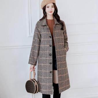 Pencarian Termurah Mantel Wanita Musim Dingin Wol Kancing Mantel Saku Kebesaran Panjang Jas Hujan Kotak-