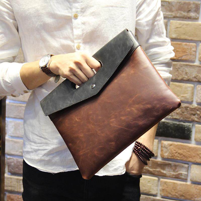 Mens Crazy Horse Leather Envelope Clutch Bag Casual File Package Male Hand Bag
