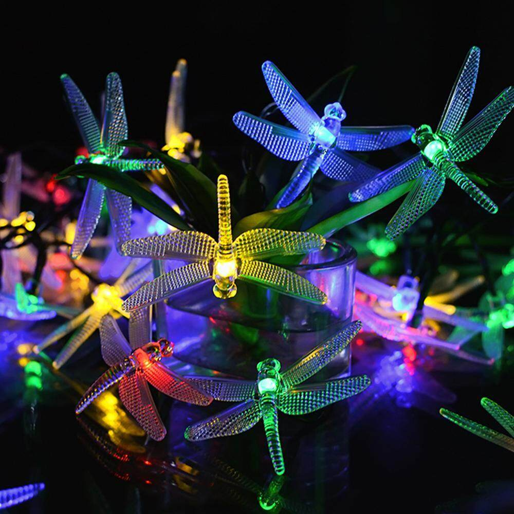 Pawaca Solar String Lights,4.8M 20 LEDs Dragonfly Solar Fairy Lights With Waterproof Solar Panel 2 Lighting Modes For Outdoor Garden Patio Yard Party Christmas - intl