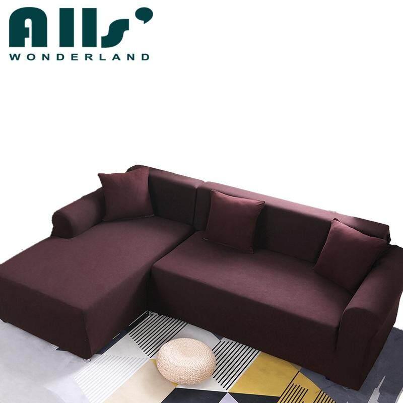 2pcs Pure Color Stretch Sofa Slipcover Elastic Sofa Cover For L Shape Sofa  Furniture Protector(