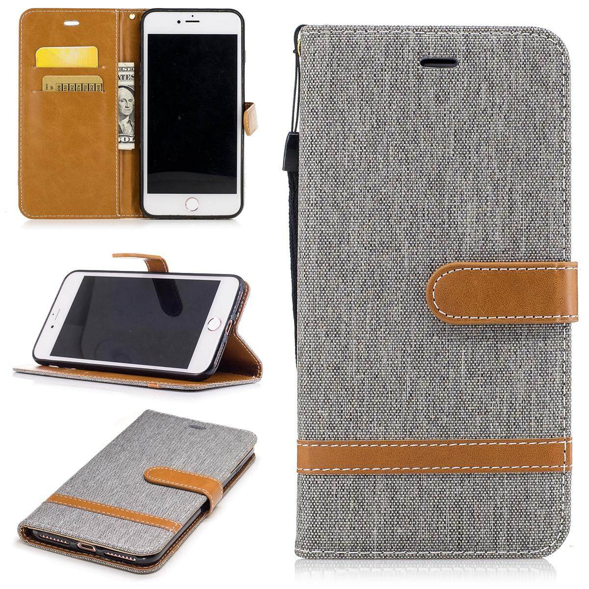 Moonmini Case for iPhone 7 Plus / iPhone 8 Plus Jeans Surface PU Leather Wallet Case