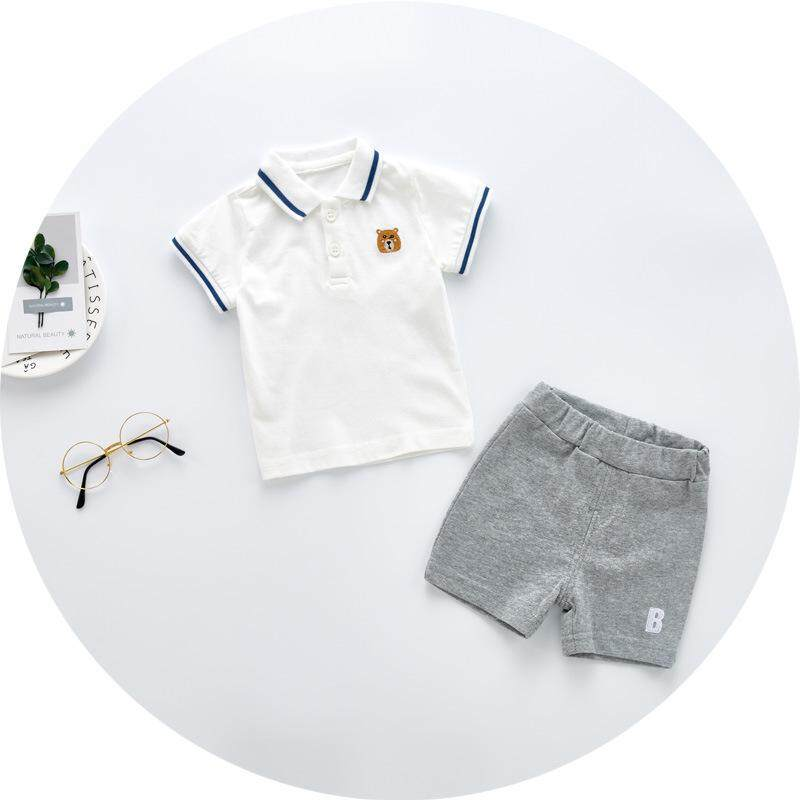 Toddler Baby Boy Clothes Bear Embroidered Polo Shirt Tops+ Shorts Clothes Sets 2018 New Fashion Kids Suit Infant Boy Clothing - intl