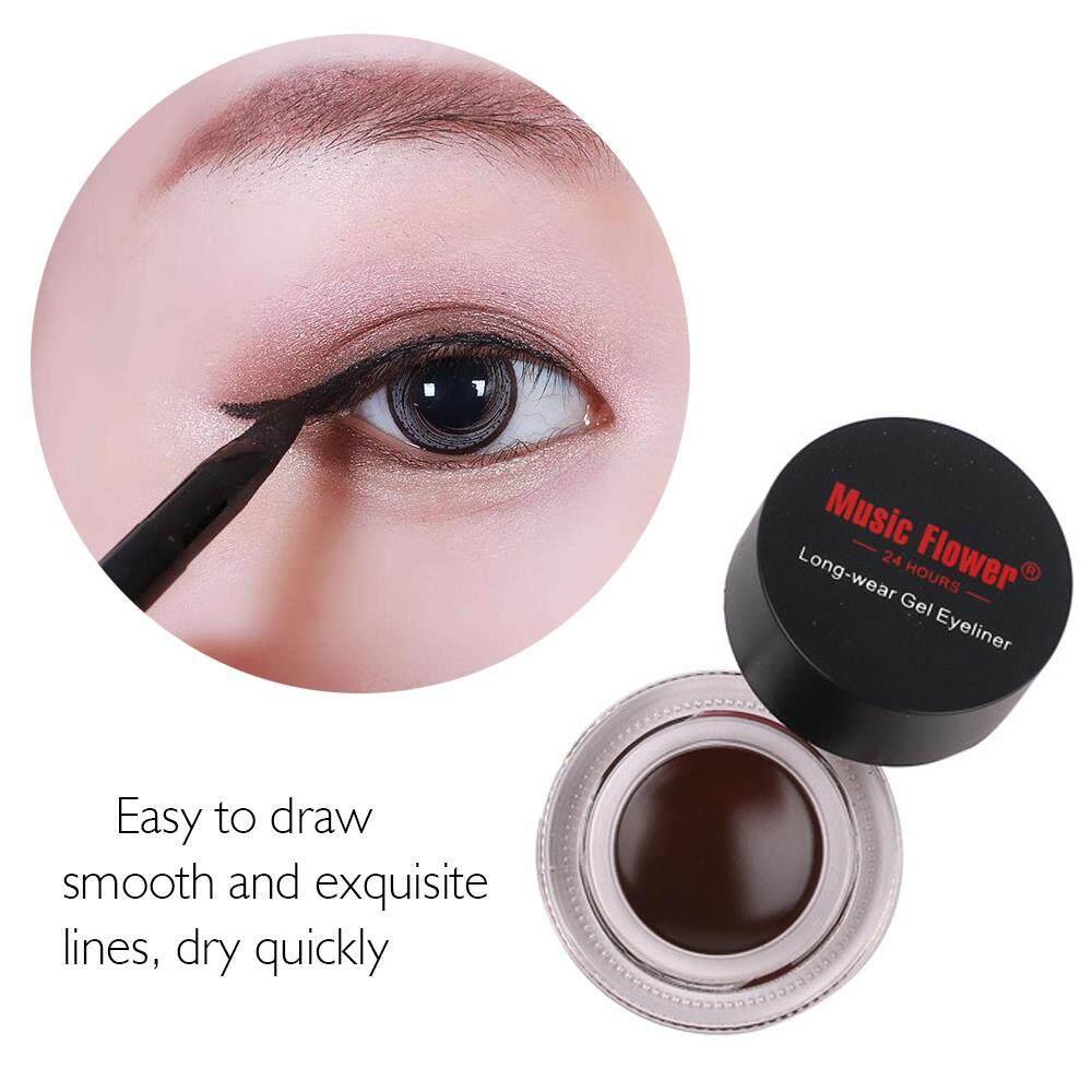 2 PCS Brown Gel Eyeliner Colors Long Wear Waterproof Eye Liner Makeup Kit Equipped with 2 Brushes - intl Philippines