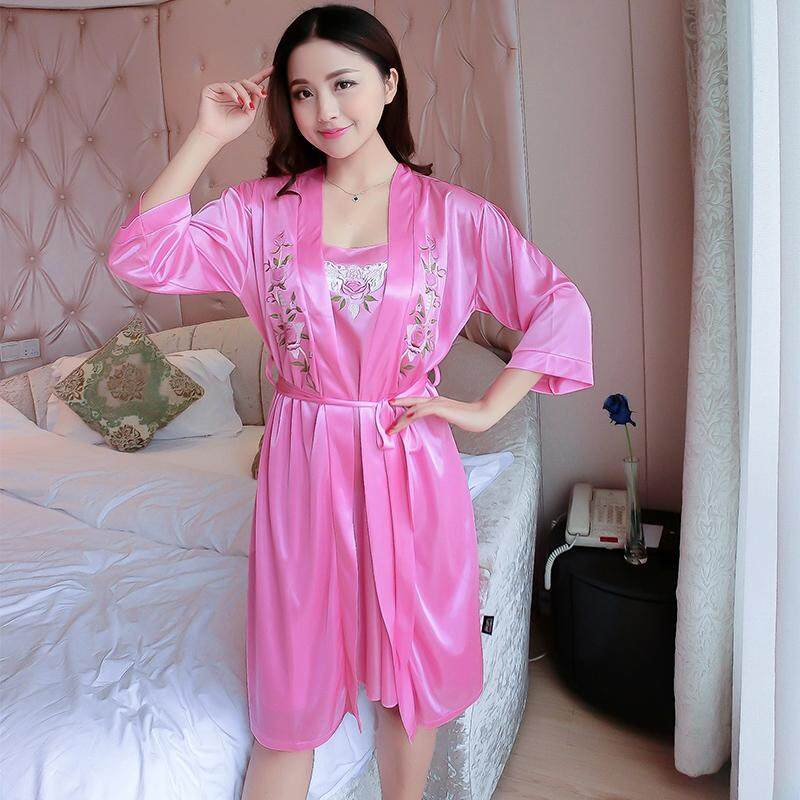 Sexy Silk Lingerie Dress Robes Set for Women 2018 Summer Two Piece Nightgowns  Night Gowns Sleep 99abf5a6348b