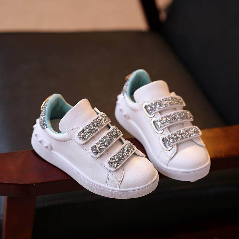 a94b008e36d 2019 Spring New Style Children White Shoes Girls Athletic Shoes Korean  Style Sequin Students Sneakers girl