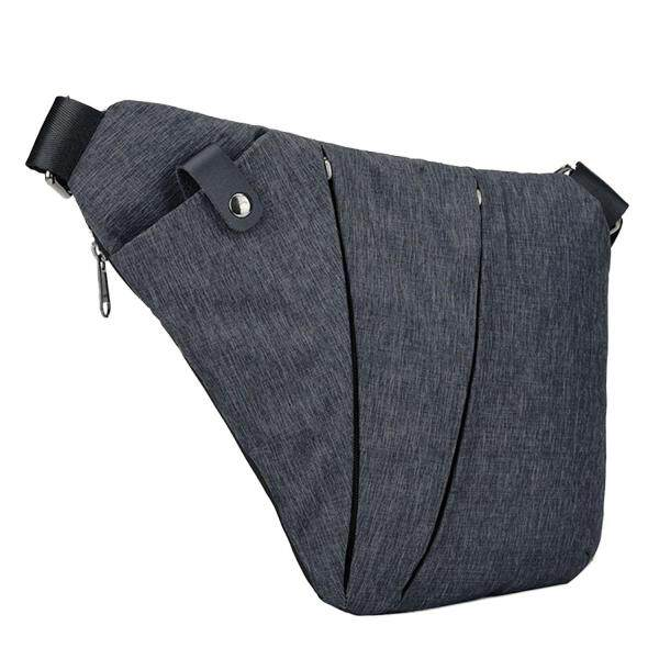 Casual Simple Men Sling Bag Backpack Anti Theft Single Shoulder Chest Crossbody Bags for Outdoor Sport Travel Hiking (Grey/Blue)
