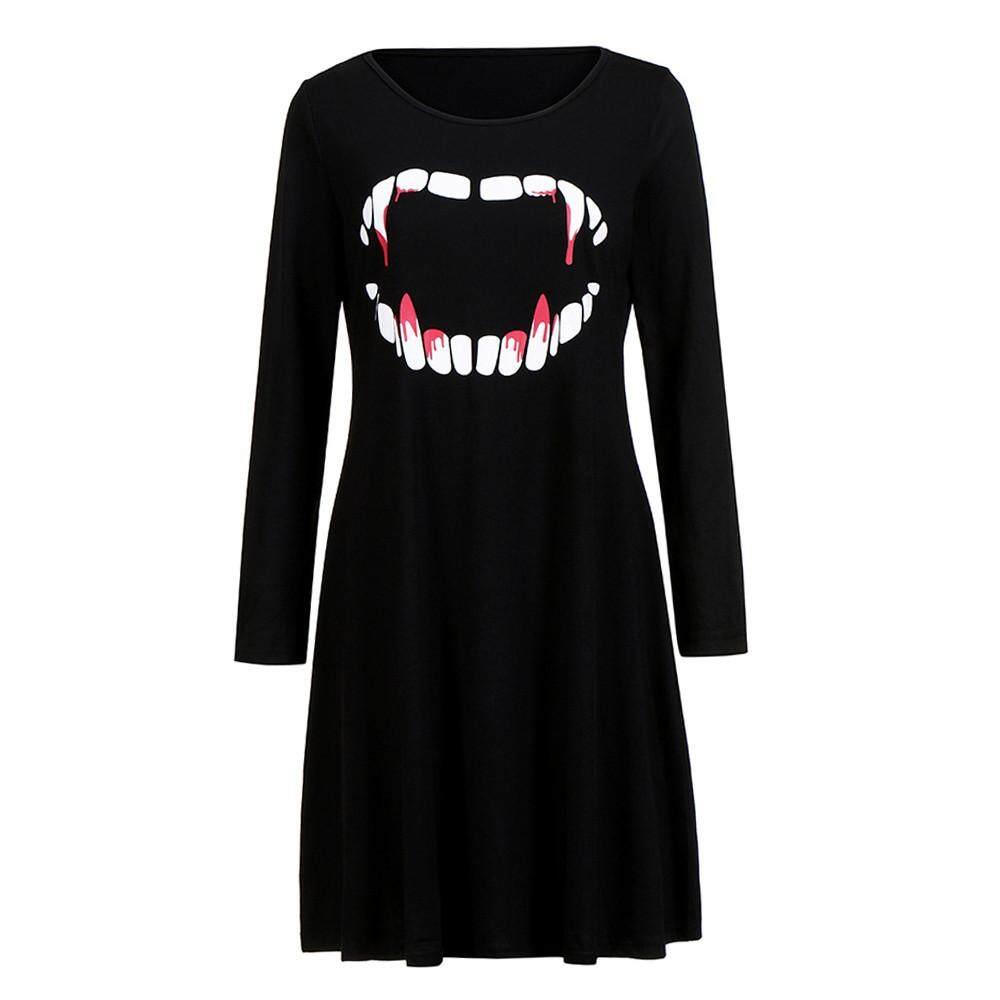 Zapramoon Wanita Vampire Darah Halloween Malam Kostum Prom Gaun Rok Lebar