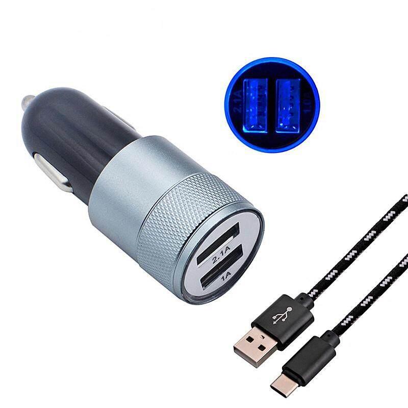 Diskon Barang! 2A Aluminium USB Pengisi Daya Mobil + Tipe C Charger USB Kabel untuk Xiaomi Samsung Galaxy S8 S9 A8 + A8 2018 Note 8 A3 A5 a7 2017