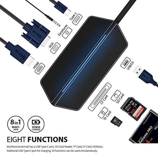 Sunteck TYPE C HUB + ADAPTER 8-In-1 + HDMI + VGA + USB 3.0 + USB Tipe C 3.0 + Sd/Micro Sd/Pembaca Kartu CF Multiports untuk Macbook, macBook Pro, Nintendo Switch dan Banyak Lagi Perangkat Tipe C (Abu-abu)-Intl