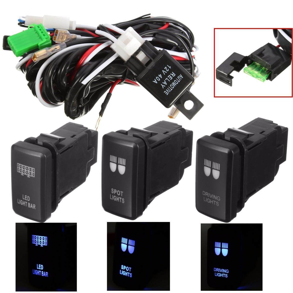 Fitur Heavy Duty Wiring Harness Kit 300w 12v For Led Light Bar Fuse Universal Automotive 40a Driving Spot Relay Switch Toyota Atv Rear