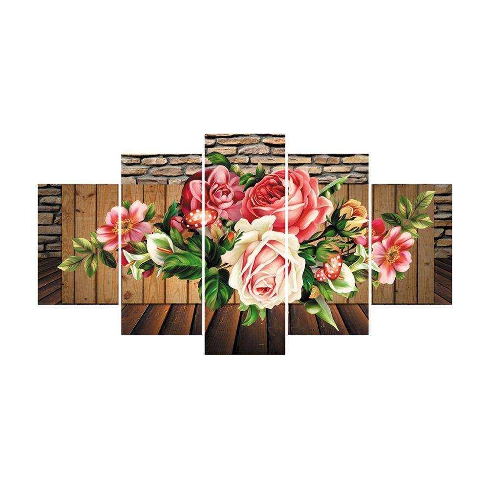 Resplendent Rose 5D DIY Full Drill Diamond Painting 5-pictures Combination Kits Craft Cross Stitch Set Embroidery Home Decor Gift
