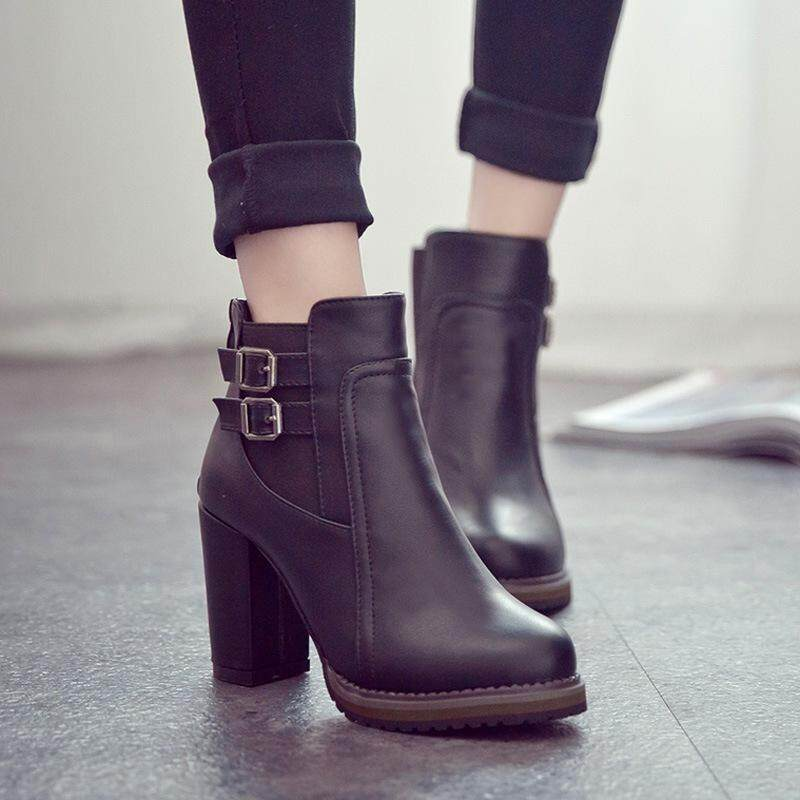 ef8b6fa826d Women High Heel Ankle Boots Buckle Closure PU Shoes Thick Heel Female  Winter Boot Korean Stretch