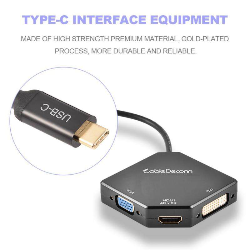 Bảng giá 3 in 1 Type-C Adapter CableDeconn USB3.1 Type-C to HDMI 4K VGA DVI 1080P Cable Adapter Converter - intl Phong Vũ