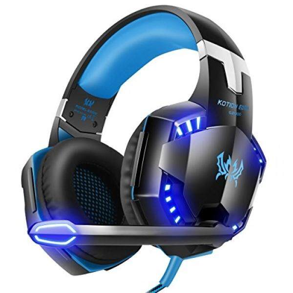 [2018 Baru Diperbarui Headset Gaming PC] Qida Headset Game untuk PC, Laptop, headphone Permainan dengan Suara Mikrofon Mengisolasi Kontrol Volume Headphone USB untuk Permainan PC-Hitam-Biru-Intl