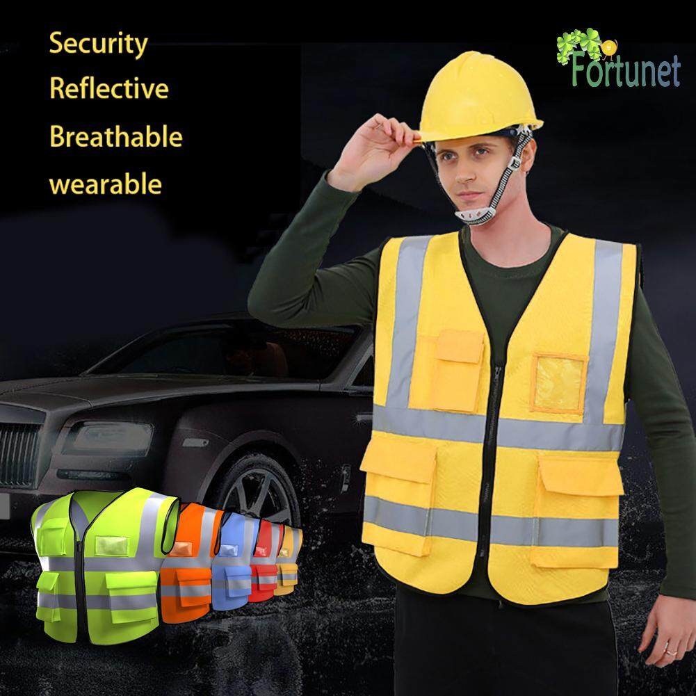 Fortunet 5 Pockets High Visibility Zipper Front Breathable Safety Vest With Reflective Strips - Intl By Fortunet.