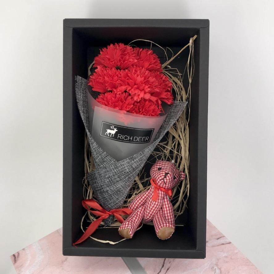 Artificial Flower Bouquet 7 Scented Soap Carnations Flower + 1 Bear Gift Box Gift For Valentine Mother Wedding Christmas Birthday Party Decoration