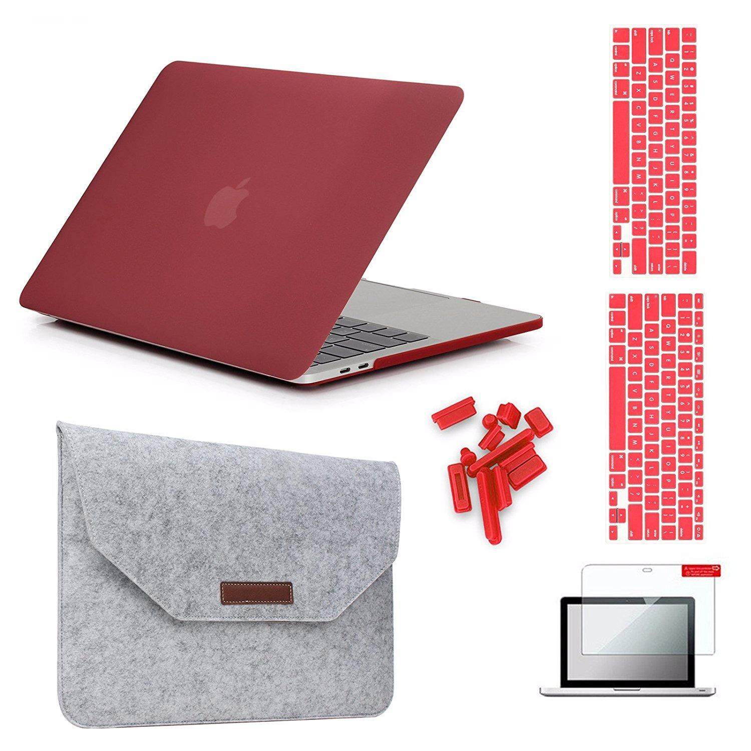MacBook Pro 13(2016 & 2017 Version) Hardshell Case & Felt Sleeve[5 in 1 Bundle] with Screen Protector,Keyboard Cover & Dust Plug for MacBook Pro 13 with/without Touch Bar A1706/A1708
