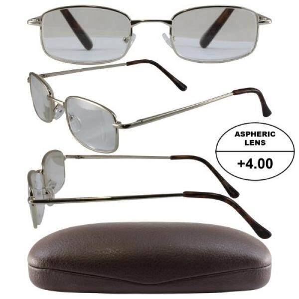 Pria Bertenaga Tinggi Kacamata untuk Membaca: Gold Bingkai dan Coklat Case + 4.00 Pembesaran Aspherical Lensa/dari Amerika Serikat