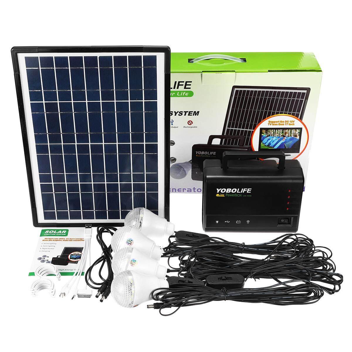 Power Storage Generator Solar Panel LED USB Charger Home System 18W 110-220V - intl