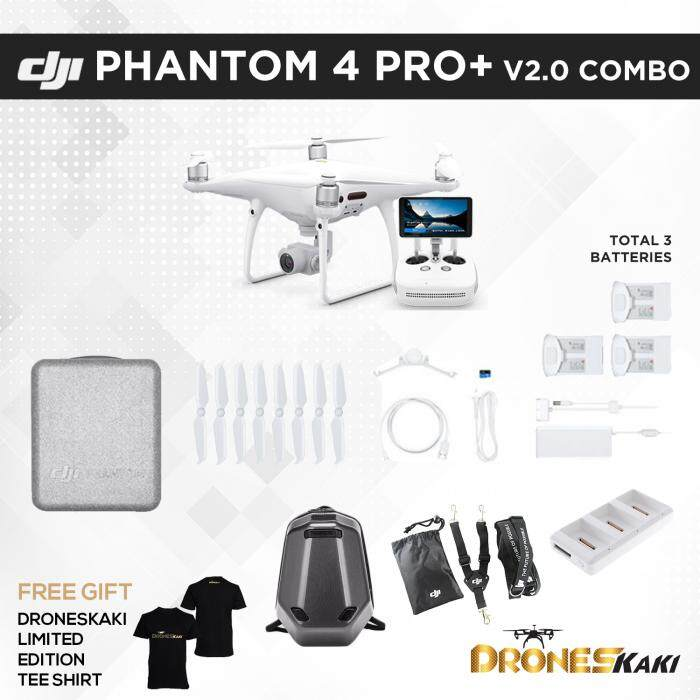 "PHANTOM 4 PRO+ V2.0 (PLUS 5.5"" BUILT-IN SCREEN) + 2 EXTRA HIGH CAPACITY BATTERIES + DJI LANYARD + CHARGING HUB + WILDPIE BACKPACK (6 MONTHS EXTENDED WARRANTY ONLY AT DRONESKAKI ONLINE STORE WORTH RM800)"