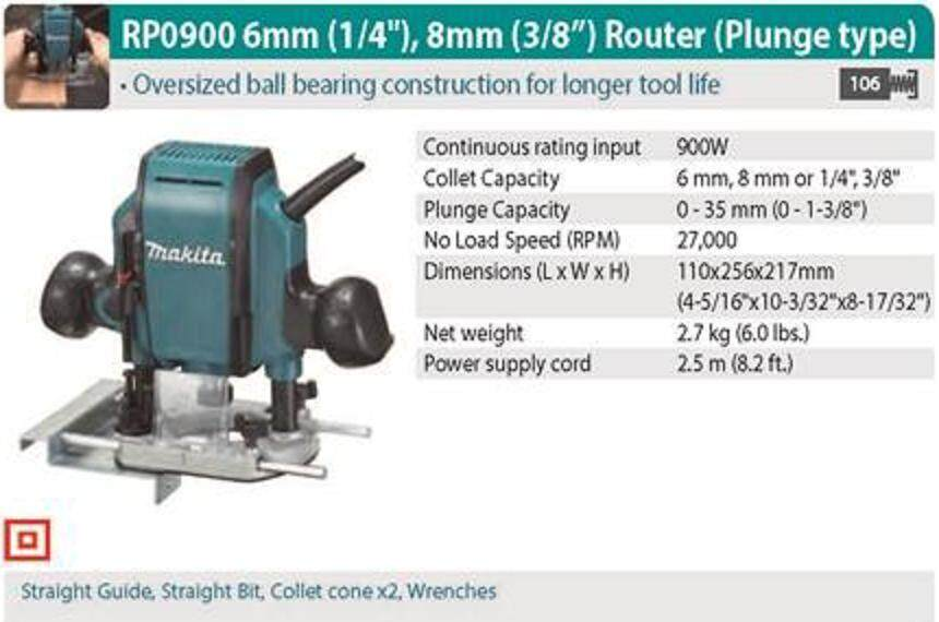 MAKITA RP0900 900W 6MM 8MM PLUNGE ROUTER TRIMMER LAMINATE