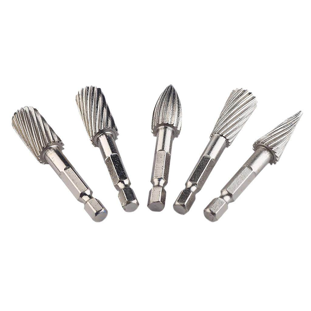 Magideal 5pcs 1/4 Shank Rotary Burr Set Hss Rotary Files Rotary Tools Grinding Bits By Magideal.