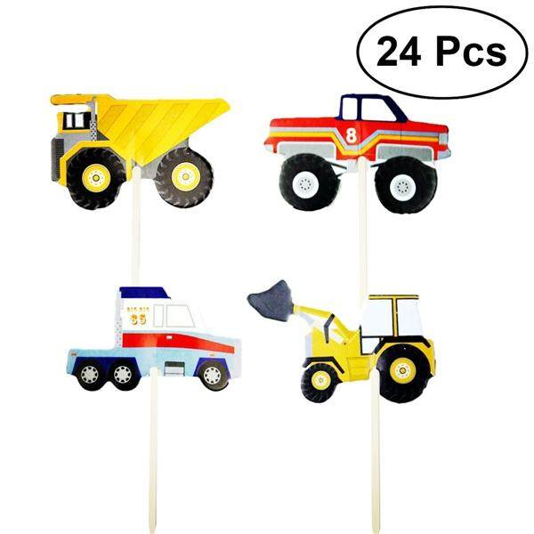 24pcs Lovely Cartoon Car Excavator Model Cake Toppers Cupcake Decoration Favors Supplies For Birthday Wedding Party By Pickegg.