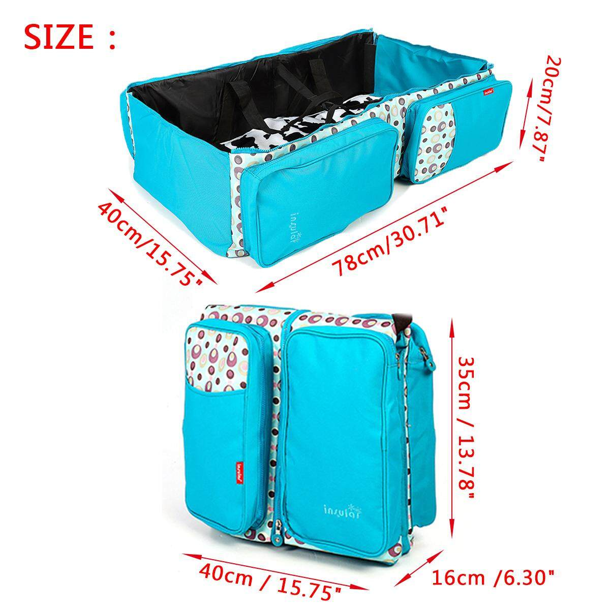3 In1 Multi-Function Baby Diaper Travel Bag Portable Cot Mummy Infant Fold Bed By Audew.
