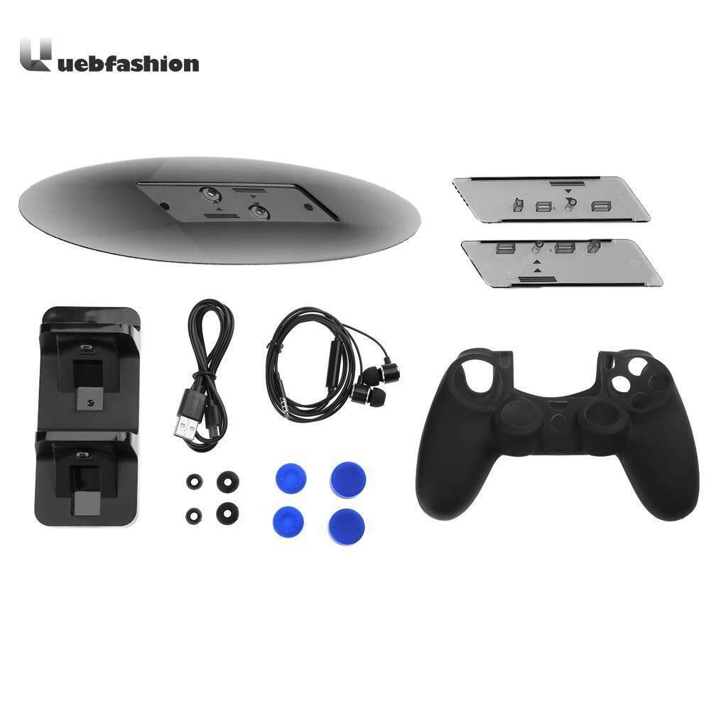 Ganda Pengisian Dock Pengisian Daya Kabel + Vertikal Berdiri Silikon Topi + Stereo Headphone + Pengendali Silikon Casing untuk PS4 ramping PS4 Pro Perlengkapan-Internasional