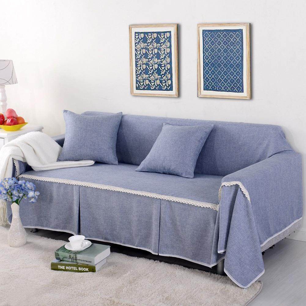 LB Solid Color Elastic Anti-slip Sofa Cover Home Decoration (without Pillow Case) Grey