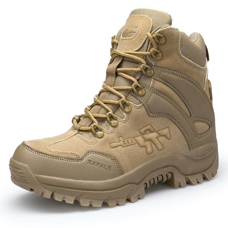 Best Mon Men High Quality Leather Safety Work Boots Waterproof Military Boots Lelaki Kerja