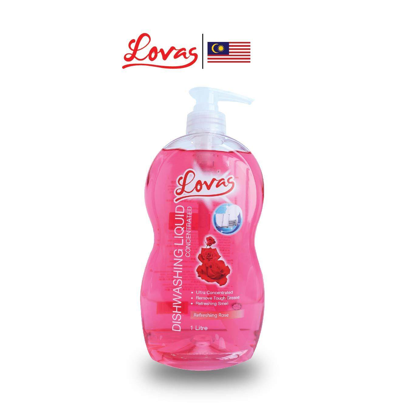 LOVAS Dishwashing Liquid Concentrated - 1L [Rose] - Oil & Grease Remover