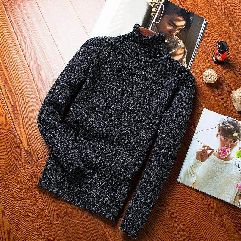 6a8faa441cd NORMEN Men s Fashion Turtleneck Sweater Plain Hooded Long Full Sleeve  Pullovers Solid Casual Streetwear