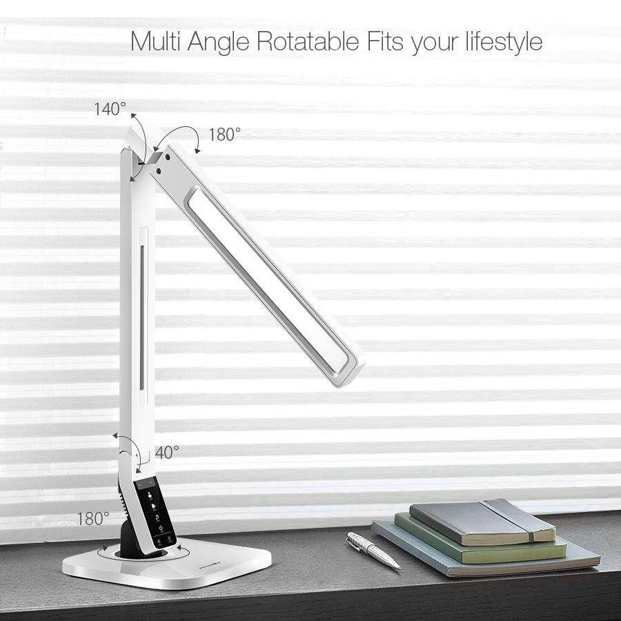 BlitzWolf BW-LT1 180° Eye Protection Smart LED Desk Lamp Table Lamp Light Rotatable Dimmable 2.1A USB Charging US Plug