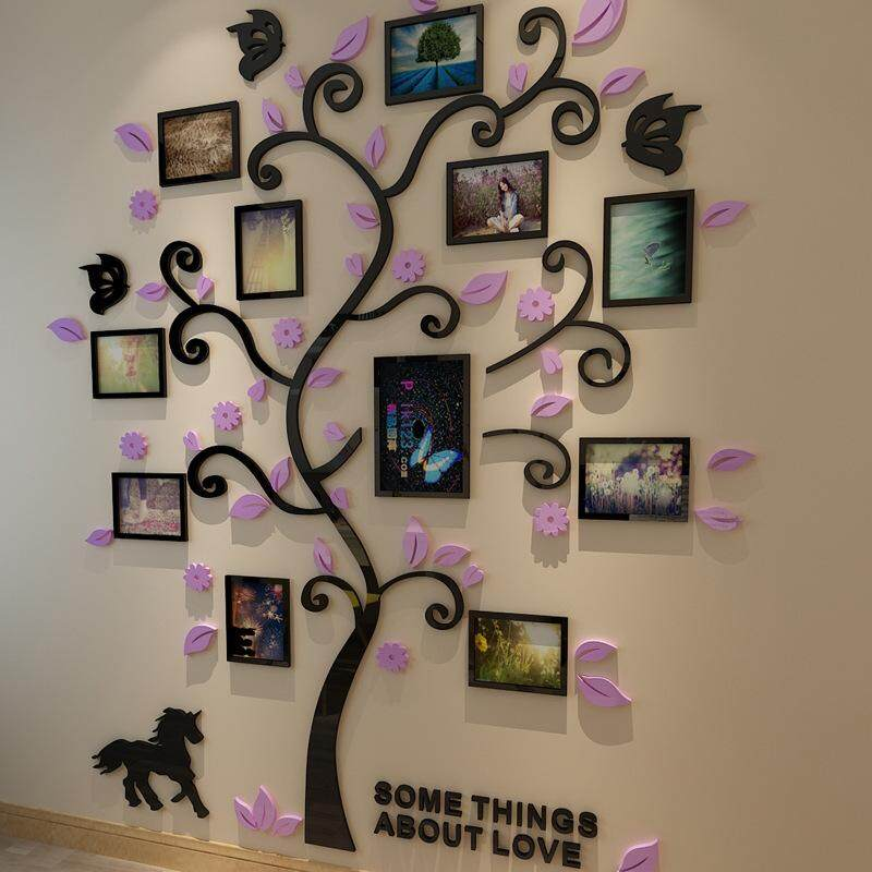 XS Size New Family Tree Photo Frame Crystal Acrylic Wall Stickers 3D Three-dimensional Wall