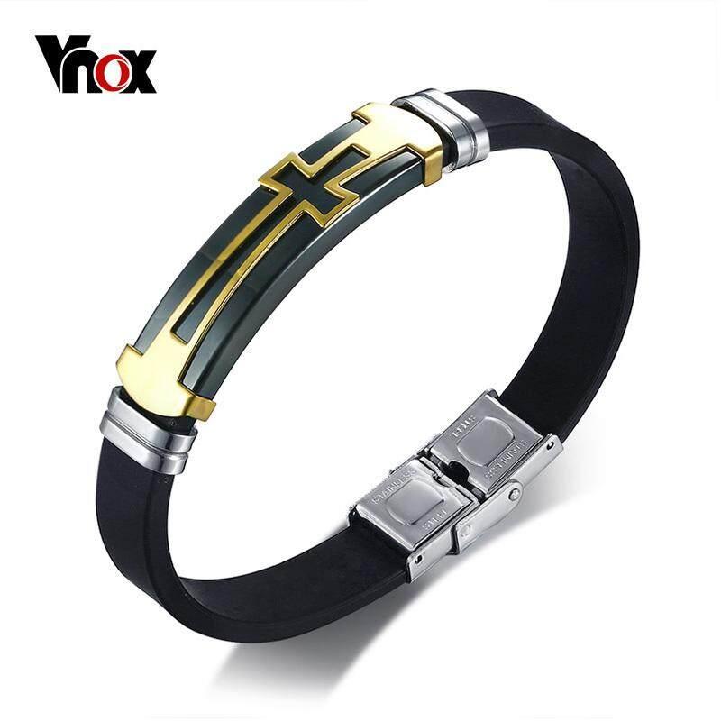 Vnox Baja Anti Karat Gelang Salib Gelang untuk Pria Gelang Silikon Hitam Maskulin Kasual Keren Perhiasan
