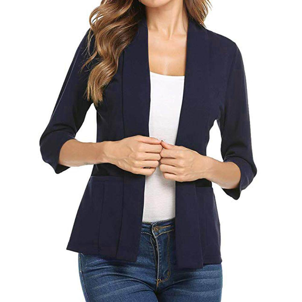 Aiipstore Women Mini Suit Casual 3/4 Sleeve Open Front Work Office Blazer Jacket Cardigan By Aiipstore.