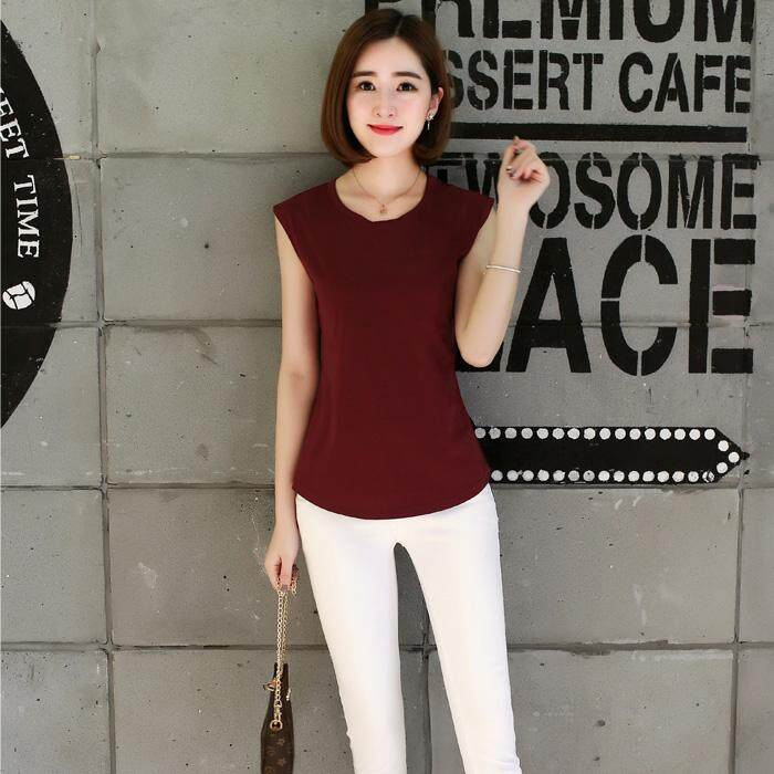 1911a377db9 2019 Summer Wear New Style Korean Style Loose Solid Color Sleeveless Vest  Blouses Large Size Pure