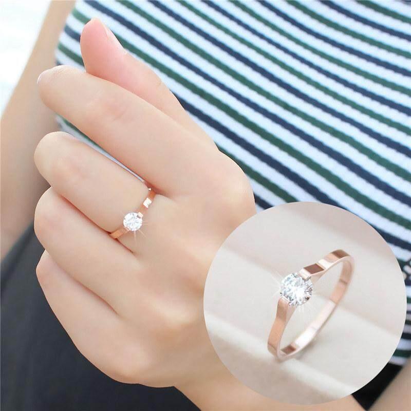Cincin Wanita Baja Titanium Bertatahkan Berlian Gaya Jepang Korea