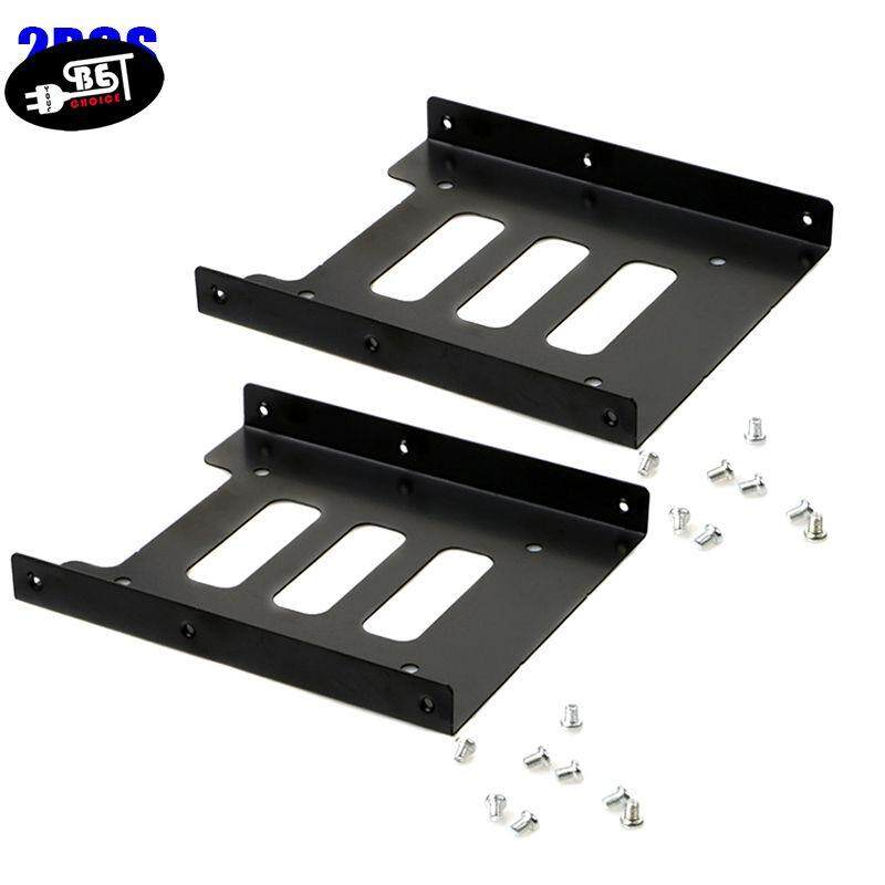 YBC 2pcs Hard Drive Holder 2.5 to 3.5 Inch SSD HDD Metal Adapter Mounting Bracket For PC