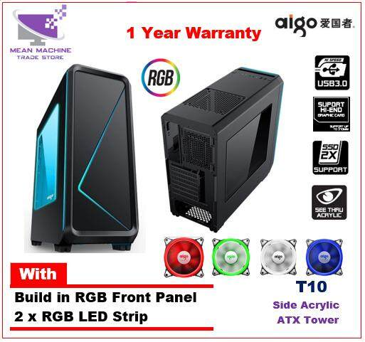 Aigo T10 Black RGB Front Panel ATX Acrylic Gaming Chassis with RGB Stripe Malaysia