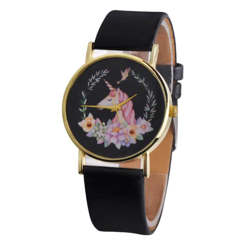 BODHI Fashion Cartoon Unicorn Analog Display Belt Wrist Watch Children Kids Gifts (Black) Malaysia