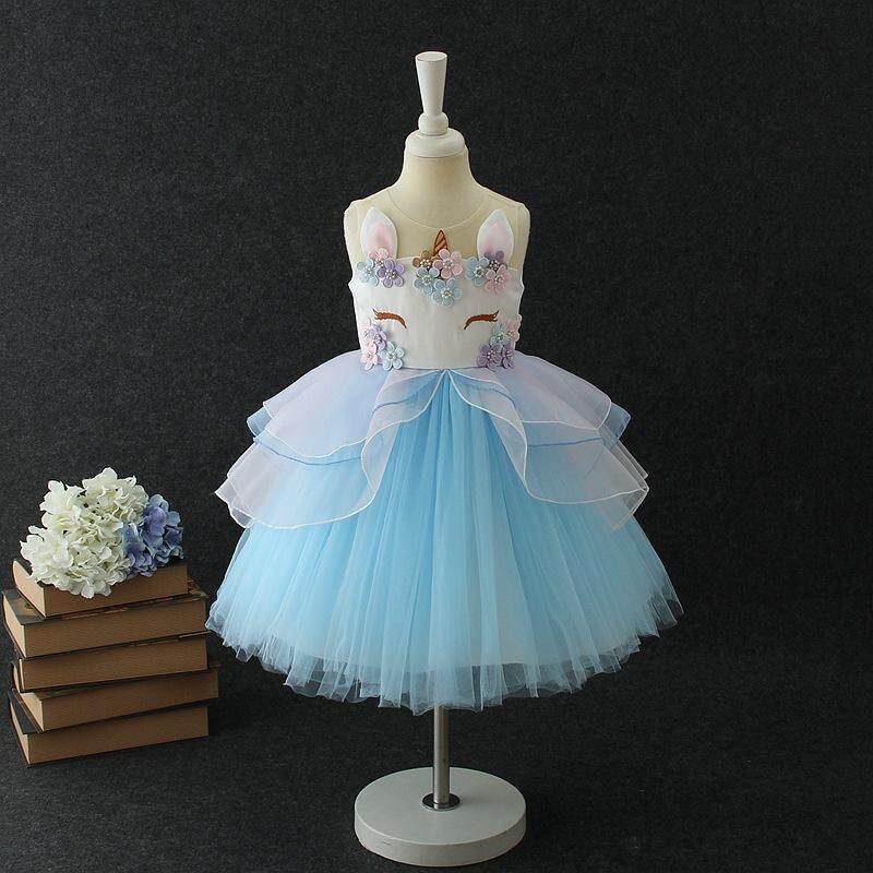 7fe54425da190 Kids Summer Unicorn Party Tutu Dress for Girls Embroidery Flower Ball Gown Baby  Girl Princess Dresses