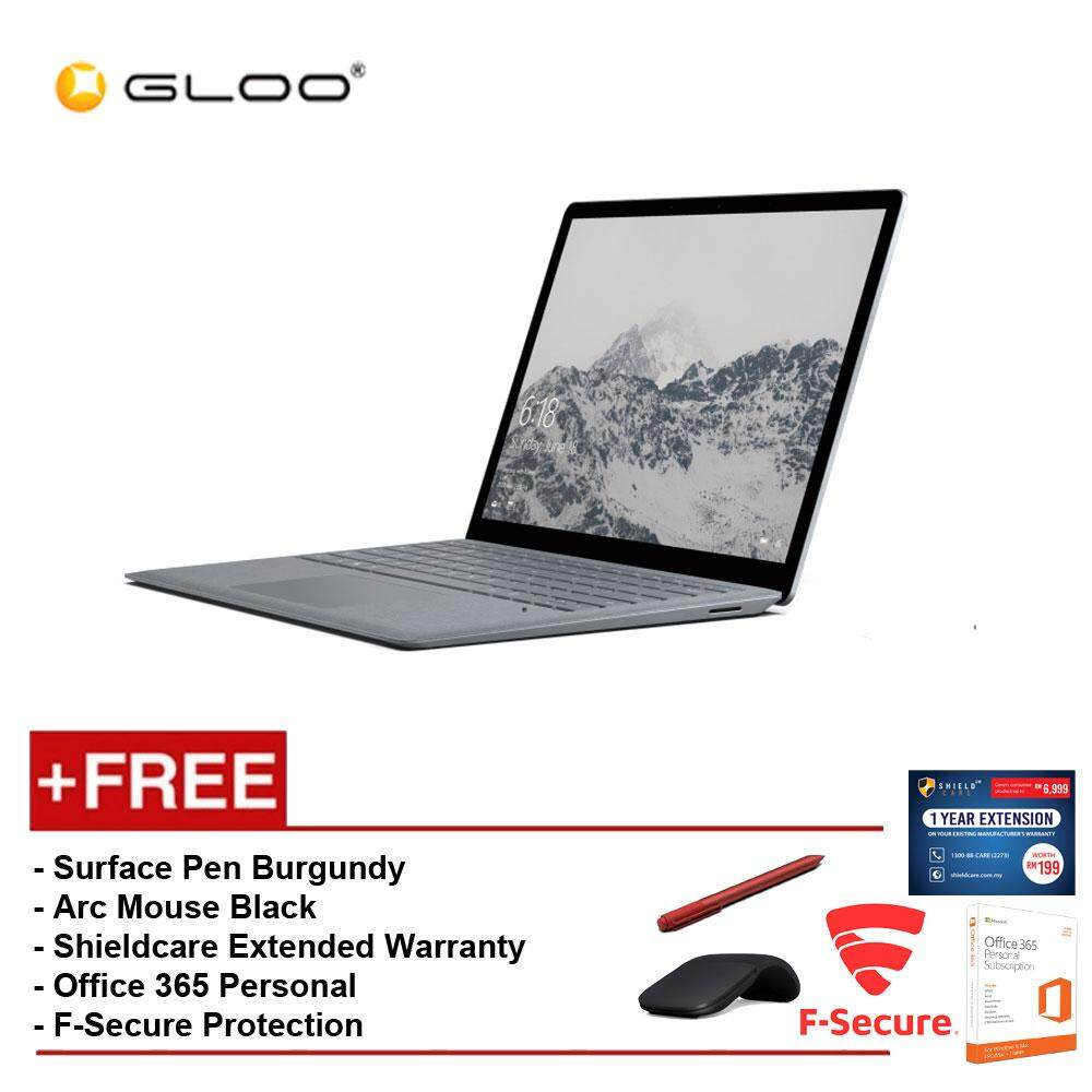 Surface Laptop Core i5/8GB RAM - 256GB + Shield Care 1YR Ext Wty + F-Secure End Point Protection + Off 365 Personal + Arc Mouse Blk + Microsoft Surface Pen Burgundy Malaysia