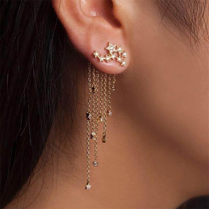 b9479d199 New Fashion Women Stylish Gold Color Star Streamlined Tassel Long Crystal  Earrings Women Girl Jewelry