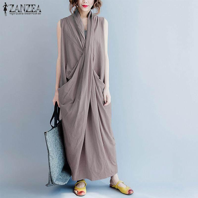 Zanzea ผู้หญิงขนาดยาวพิเศษ Maxi Sundress ปาร์ตี้ชุดราตรีค็อกเทล.